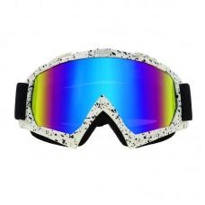 Очки лыжные |7946| Бело-чёрная оправа с зеркальными линзами | Горнолыжная маска SKI