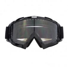 Маска лыжная |8164| Чёрная оправа с прозрачными линзами | Очки горнолыжные SKI