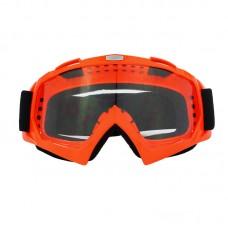 Маска лыжная |8169| Оранжевая оправа с прозрачными линзами | Очки горнолыжные SKI
