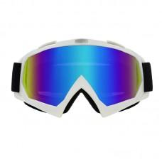 Очки лыжные |8156| Белые оправа с зеркальными линзами | Горнолыжная маска SKI