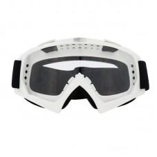 Маска лыжная |8168| Белая оправа с прозрачными линзами | Очки горнолыжные SKI
