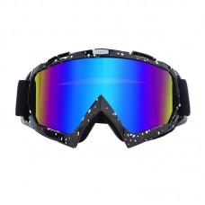 Очки лыжные |8158| Чёрно-белая оправа с зеркальными линзами | Горнолыжная маска SKI